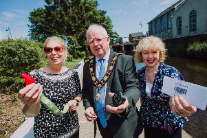 Mayor of Antrim and Newtownabbey, Alderman John Smyth is joined by Vivien Davidson, parkrun volunteer 'and Nicola Ardbuckle, Northern Health & Social Care Trust to launch the Ballyclare parkrun