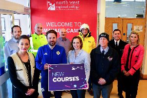 Pictured (left to right) Luke McCloskey, NWRC Limavady Campus Manager; Diane Miller; NWRC Lecturer; Ian Magee, PSNI Chief Inspector; Gareth Allen IFA Education Officer; Ivor Neill, NWRC Lecturer; Sinead O'Brien, NWRC Curriculum Manager; Tim Nelson, RNLI Portrush Crew Member; Keith Gilmore, RNLI Portrush, Lifeboat Operations Manager; Warren Kerr, Assistant Group Commander, NI Fire & Rescue Service; Lynda Hegarty, NWRC Curriculum Manager.