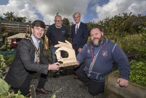 The Mayor of Causeway Coast and Glens Borough Council Councillor Sean Bateson presents Patrick Frew from Cloughmills Community Action Team with the European Week for Waste Reduction (EWWR) award alongside Environmental Resources Officer Declan Donnelly and Dr Ian Garner from the Waste and Resources Action Programme (WRAP)