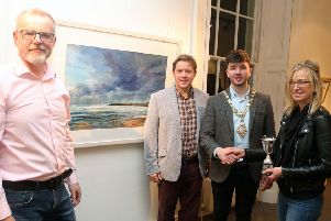 The Mayor of Causeway Coast and Glens Borough Council Councillor Sean Bateson pictured at the 71st exhibition launch of Coleraine Art Society at Flowerfield Arts Centre with Kevin McClelland, Coleraine Art Society Chairperson, Raymond Kennedy, Guest Judge and Sarah Carrington, award winner for her painting 'Dark Sky, Runkerry