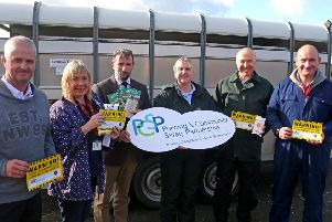 Constable Peter McKearey, Judith Lavery, Crime Prevention Officer, Councillor George Dudd chairman of CCGBC PCSP,  Constable Sonya McMullan, Constable Ronnie Curlett and Constable Aaron Coyle pictured at the property marking event in Armoy