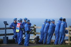 Coastguard rescue team at scene of the incident