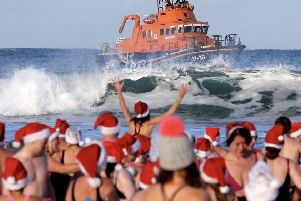 Pictured during the Portrush Lifeboat Santa Spalsh at East Strand Portrush .PICTURE KEVIN MCAULEY/MCAULEY MULTIMEDIA