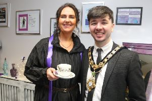Pictured at the opening of Hidden Treasures and its collaboration with The Zachary Geddis Break The Silence Trust is the Mayor of Causeway Coast and Glens Borough Council Councillor Sean Bateson along with Louise Geddis