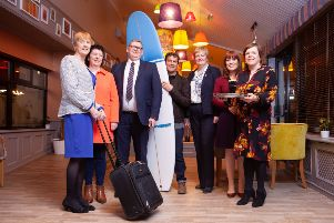 From left - Mary O'Driscoll, chair Glens Cluster; Siobhan McKenna,Trade Engagement officer Causeway Coast & Glens Council, Norman McBride, chair of Gobbins Cluster, Andrew Hill, Troggs Surf Shop, Ann Donaghy, chair of Causeway & Binevenagh Cluster, Joanne McLaughlin, Economic Development officer Causeway Coast & Glens Council and Kelli Bagchus, facilitator Causeway Coastal Route Cluster.