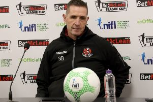 Stephen Baxter is aiming to secure a second League Cup prize as Crusaders manager. Pic by Pacemaker.