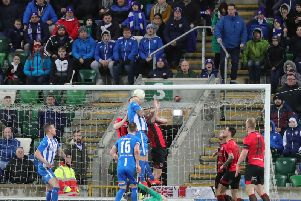 James McLaughlin hands Coleraine a 2-1 lead over Crusaders in the BetMcLean Cup final at Windsor Park