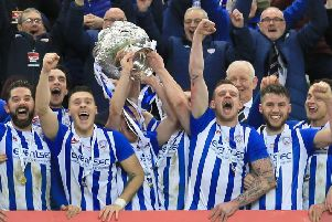 Coleraine lift the BetMcLean League Cup trophy at Windsor Park. Pic by Pacemaker.