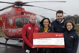Pictued are  Autoline Insurance's Christian Ryan (Charity Champion) and Michelle Rice (Marketing Executive), AANI Kerry Anderson, Head of Fundraising and HEMS Paramedic Glenn O'Rorke