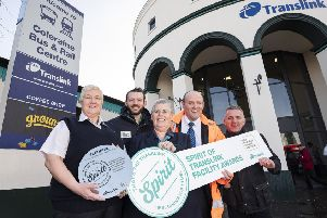 Pictured celebrating their achievement of Platinum status at the SPIRIT of Translink Facility Awards for Coleraine Bus & Rail Centre are L-R Translink's, Mairead Campbell, Keep Northern Ireland Beautiful's Jamie Miller, Translink's Joan Scally, David Simpson and Andy Bate