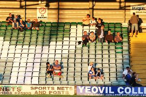 Pompey fans at Yeovil on Tuesday night. Picture: Joe Pepler