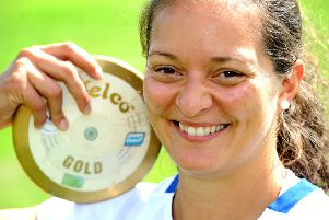 Olympic Discus thrower Jade Lally at Broadbridge Heath Leisure Centre. Pic Steve Robards SR1618965 SUS-161207-140507001