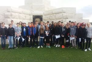 Year 9 pupils held a short ceremony to remember the men who died at battle.