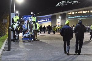 Police outside The Amex for Brighton's previous home game against Crystal Palace. Picture: Steve Bailey