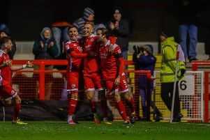Crawley Town celebrate their opening goal against Mansfield.'Picture by Chris Holloway.