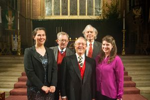 From left: Marianne Goodale (soprano), David Hadden (bass), Robert Hammersley (conductor), John Baker (tenor) and Olivia Bell (soprano)