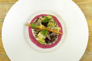 Beetroot hummus with coconut whip and quinoa salad