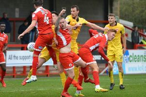Action from Crawley's match with Morecambe. Picture by Peter Cripps