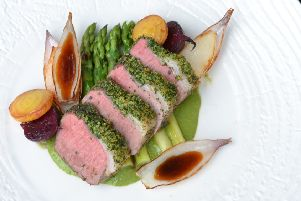 Herb-crusted saddle of lamb