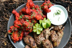 Lamb koftas and spicy chicken wings with yogurt dip