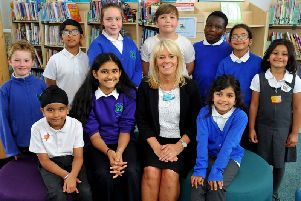 Headteacher Alison Wallis and some of the Langley Green children