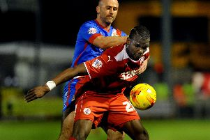 Crawley Town's Mathias Pogba battles for possesion against Doncaster in 2015 (Pic by Jon Rigby)