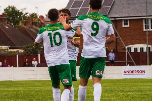 Bognor celebrate an FA Cup goal at Whitstable / Picture by Tommy McMillan