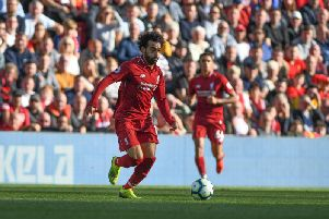 Mo Salah in action against Brighton. Picture by PW Sporting Photography