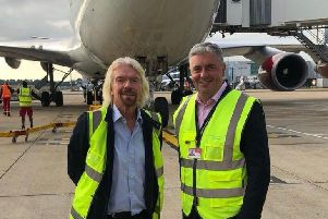 Sir Richard Branson with Gatwick Airport CEO Stewart Wingate
