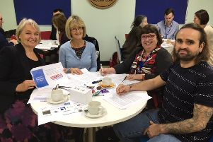 (L to R) WSCC Cabinet member for adults and health Amanda Jupp, Jackie Manners from West Sussex libraries, Coastal West Sussex Mind trustee Sue Hawker and champion Kris