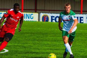 Tommy Block in action for Bognor at Carshalton earlier this season