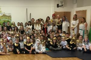 Handcross Primary shool staff and pupils at their Egyptian day