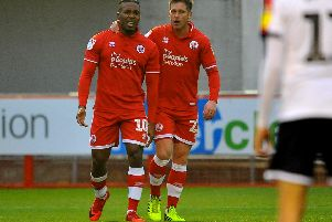 Goalscorers Dom Poleon and Dannie Bulman. Picture by Steve Robards.