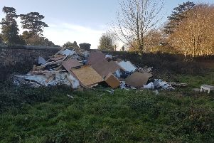 Waste flytipped near Hastings Cemetery. Photo courtesy of Rother District Council. SUS-181219-161006001