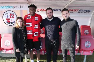 Crawley Town's new signing Matt Willock with his agent and Reds staff Kelly Derham and Selim Gaygusuz