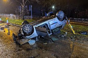 The overturned vehicle, tweeted by Crawley Fire Station. Pic: Crawley Fire Station