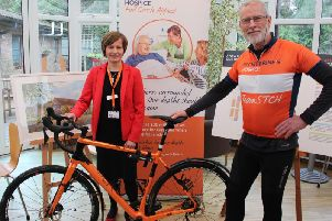 Patrick with Patricia Braydon, medical director at St Catherine's Hospice