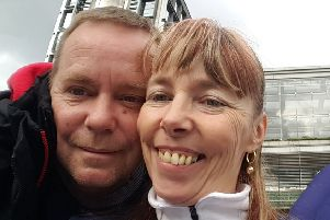 Simon Horwood, pictured with his wife Jan, is taking part in the Virgin Money London Marathon