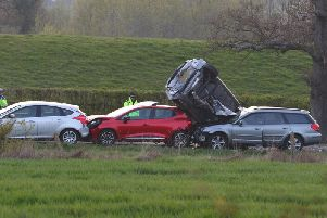 Vehicles involved in a collision on the A29