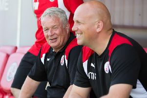 The late Dermot Drummy and Matt Gray after they were appointed at Crawley Town. Picture by Steve Robards