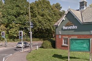 The collision happened near the Harvester pub. Picture: Google Street View