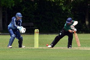 Three Bridges captain Matt Blandford batting against Brighton & Hove.'Picture by Peter Cripps