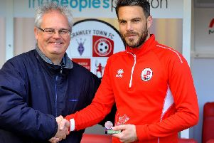 Graham Carter presents Glenn Morris with the Crawley Observer Player of the Season award