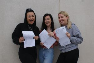 A group of students with their exam results