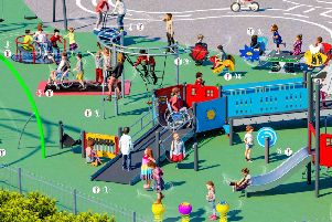 The play area will include 15 new piece of equipment and will be larger enough for 75 users