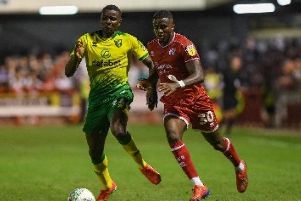 Bez Lubala scored the only goal as Crawley pulled off a shock win against Premier League Norwich. Photo: PW Sporting Photography