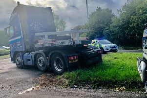 A truck jack-knifed on the A24 north of Horsham this afternoon