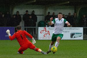 Brad Lethbridge on his way to Bognor's opener in their 3-1 Trophy win over East Thurrock which has set up a trip to Tonbridge / Picture: Tommy McMillan