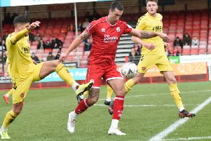 Ollie Palmer had brought Crawley level against Fleetwood on the stroke of half-time. Photo: Liz Pearce