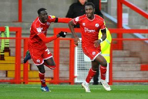 Bez Lubala celebrates his goal against Forest Green